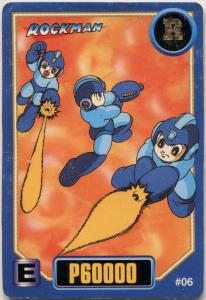 #06 Rockman buster action poses over a fiery looking background. E-can in the bottom left corner.