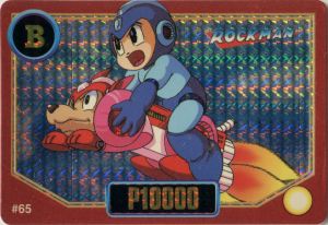 #65 holographic card. Rockman and Rush Jet to the rescue! Life energy in corner.