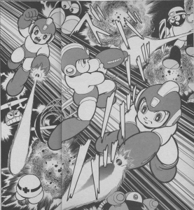 Rockman manga splash page 22 & 23, here we can see what Rockman was shooting at.