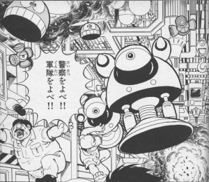 "Rockman World p23. The workers are running from other robots too like Suzys, Cutting Wheels and Bunby Helis. ""Call the police! Call the army!"" they cry."